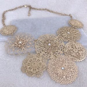 Tiered Floral Filigree Statement Necklace